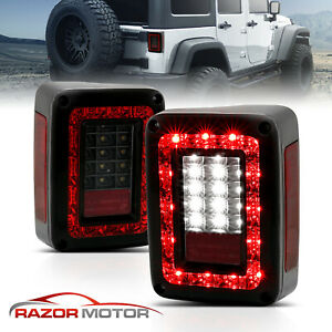 full Led 2007 2015 Jeep Wrangler Jk Dark Smoke mod G2 Tail Lights Pair