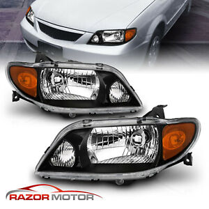 2001 2002 2003 Mazda Protege 4dr Sedan Black Factory Style Headlights Pair