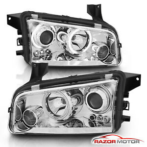 2006 2010 Dodge Charger Chrome Projector Headlights Pair Hi Power Led Halo