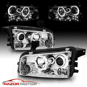 For 2006 2010 Dodge Charger Chrome Led Halo Projector Headlights Headlamps Pair
