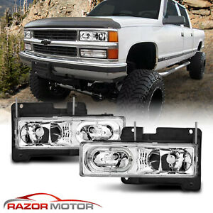 Led Halo 1988 1998 Chevy Gmc Silverado Suburban Tahoe C10 C K Headlights Pair