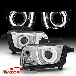 2010 2011 2012 2013 Halo Ring Projector Chrome Headlight For Chevy Camaro