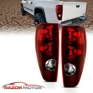 04 12 For Chevy Colorado Gmc Canyon Red Clear Rear Brake Tail Lights Lamp Pair