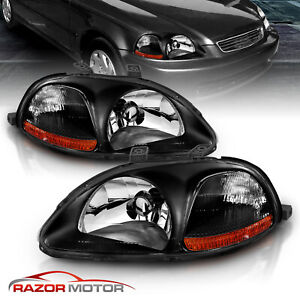 For 1996 1997 1998 Honda Civic 2 3 4dr Jdm Factory Style Black Headlights Cdrl