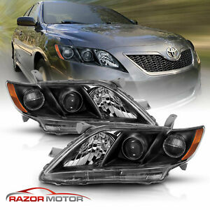 For 2007 2009 Toyota Camry Black Factory Style Projector Headlights Pair