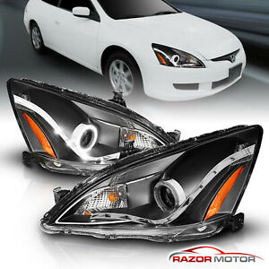 For 2003 2004 2005 2006 2007 Honda Accord Black Led Halo Projector Headlights