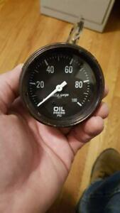 Autometer Auto Gage 0 100 Psi Mechanical Oil Pressure 2 5 8 Black Face Tested