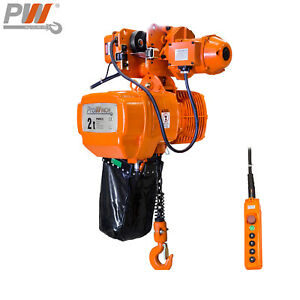 Prowinch 2 Speed 2 Ton Electric Chain Hoist Power Trolley 20 Ft G100 Chain M