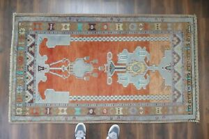 Anatolian Turkish Rug Contemporary Oushak Handwoven Wool Antique Carpet 4 X6 7