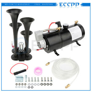 4 Trumpet 150db 12v Train Air Horn 150 Psi Air Compressor Kit For Truck Boat