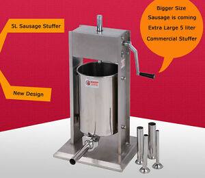 Vertical Sausage Stuffer Manual Meat Maker Stainless Steel 5l 15lb
