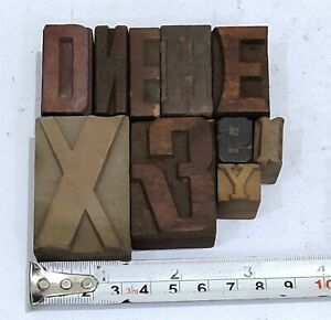 Letterpress Letter Wood Type Printers Block lots Of 10 Typography eb 14