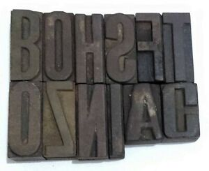 Letterpress Letter Wood Type Printers Block lots Of 12 Typography eb 13