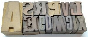 Letterpress Letter Wood Type Printers Block lots Of 13 Typography eb 1