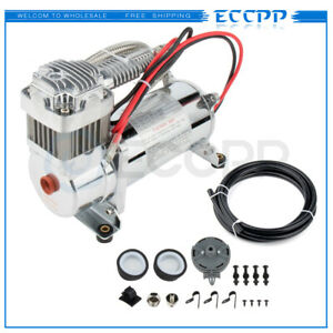 Heavy Duty Air Compressor 12v 200 Psi With 1 4 Hose Kit For Train Horns Bag