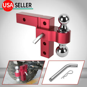 Aluminum Dual ball 6 Adjustable Mount Trailer Hitch Towing 2 2 5 16 Red