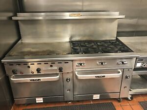Vulcan 72 Gas Range And Griddle With Double Ovens