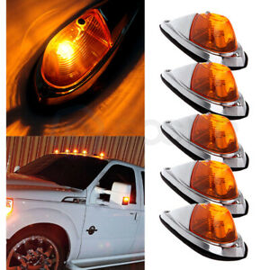 5x Amber Teardrop Cab Roof Light For Semi Trailer Clearance Marker Lights