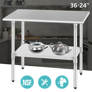 Commercial Food Prep Work Table 24 x36 Kitchen Restaurant Stainless Steel Nsf
