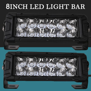 2x 8 Inch Led Light Bar Flood Spot Combo Hima4x4 Driving Truck Rzr For Jeep Ford