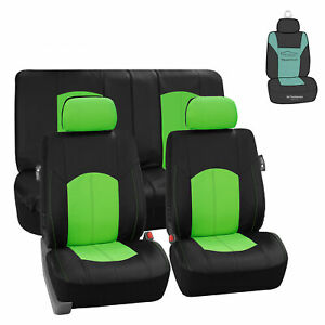 Green Black Faux Leather Seat Covers Full Interior Set W Free Air Freshener