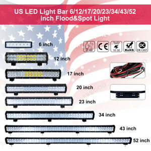52 43 34 23 20 17 12 6 Inch Led Light Bar Combo Beam For Ford Jeep Driving Lamp