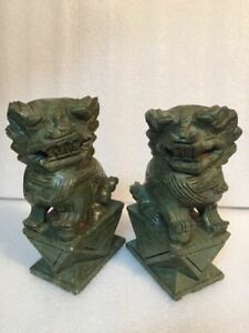 Antique Pair Foo Fu Dogs Lions Carved Hard Stone Dark Olive Green C 9