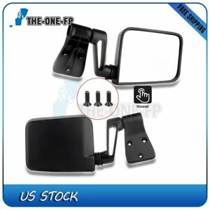 For 1987 02 Jeep Wrangler Black Manual Passenger Driver Side Mirrors Pair Set