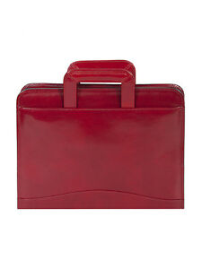 Scully Leather 96z 06 Red Italian Leather 3 ring Binder W Handles