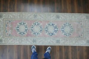 Vintage Turkish Oushak Runner Rug Handwoven Wool Antique Rug Runner 3 1x9 1 Ft