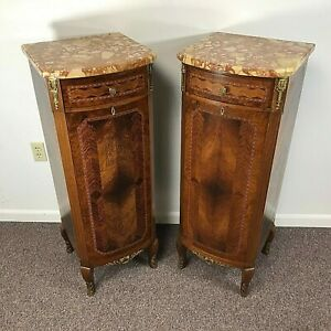 Vintage Marquetry French Marble Top 6 Drawer Tall Narrow Lingerie Chest 2 Avali