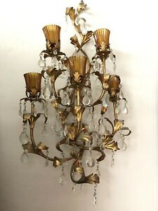 Pair 2 Vintage Wall Sconces W Crystal Prisms Gold Gilt Brass Candle Midcentury