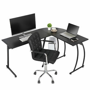 Modern L shaped Corner Computer Home Desk Pc Laptop Study Table Workstation