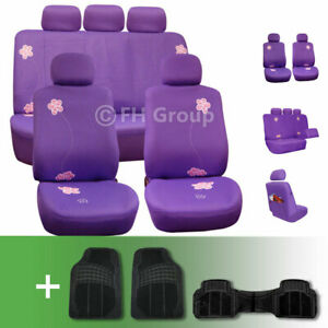 Exquisite Floral Car Seat Covers W Black Floor Mats Combo