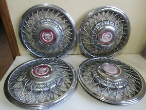 Vintage Set Of 4 Oem 1985 Cadillac Deville Fleetwood Wire Spoke Hubcaps 14