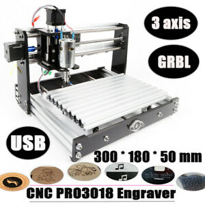Mini Diy 3 Axis Cnc Router Kit 3018 Engraver Carver Machine Grbl 12w Spindle