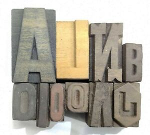 Letterpress Letter Wood Type Printers Block lot Of 10 Typography eb 35