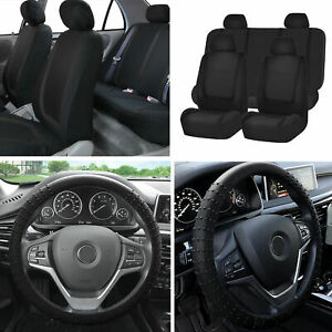 Cloth Auto Car Seat Covers Set Black W black Silicone Steering Wheel Cover