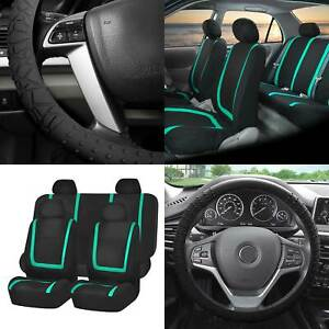 Cloth Auto Car Seat Covers Set Mint W black Silicone Steering Wheel Cover