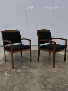 2 Modern National Timberlane Cherry Finish Lobby Guest Waiting Room Chairs