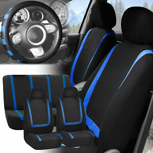 Car Seat Covers Blue Black Full Set For Auto W blue Leather Steering Cover