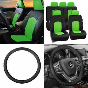 Perforated Leather Auto Seat Covers Green Black W Leather Steering Wheel