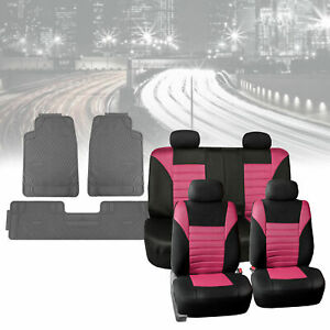 Car Seat Covers Pink Black With Gray Heavy Duty Floor Mats Full Set Combo