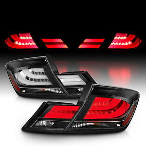 For 2013 2014 2015 Honda Civic 4dr 4 Door Sedan Black clear Led Tail Lights Pair