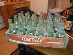 Coca Cola  wooden crate with 24 green 10oz Coke bottles Vintage Antique Art