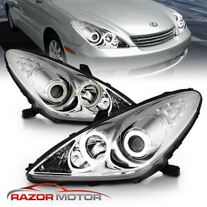 led Halo Ring for 2002 2003 Lexus Es300 04 06 Es330 Chrome Projector Headlights