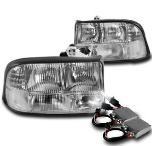 1998 2004 Gmc Sonoma 2001 Jimmy Crystal Chrome Replacement Headlights 50w 8k Hid