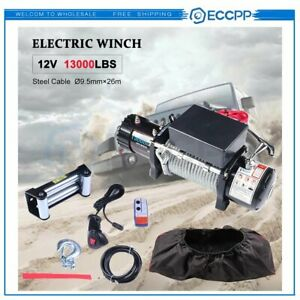 Eccpp 13000lbs Electric Winch Steel Cable Off Road Truck Towing Trailer W Cover