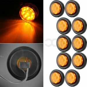 10x Round 2 Inch Amber Side Marker 9 Led Tail Light Trailer Truck Universal