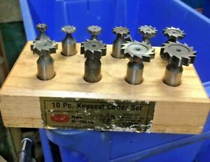 Keo 60100 Keyseat Cutter Set 10 Pc Hss Straight Woodruff Key End Mill Machinist